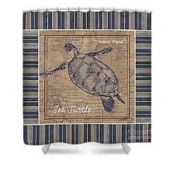 Nautical Stripes Sea Turtle Shower Curtain by Debbie DeWitt