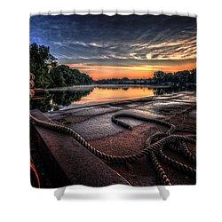 Nautical Sunrise Shower Curtain by Everet Regal