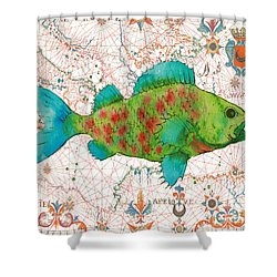 Shower Curtain featuring the painting Nautical Treasures-a by Jean Plout
