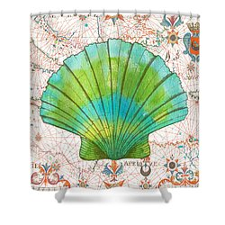 Shower Curtain featuring the painting Nautical Treasures-b by Jean Plout