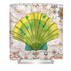 Shower Curtain featuring the painting Nautical Treasures-d by Jean Plout