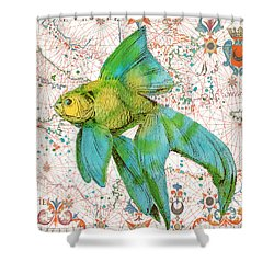 Shower Curtain featuring the painting Nautical Treasures-e by Jean Plout
