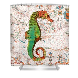 Shower Curtain featuring the painting Nautical Treasures-h by Jean Plout