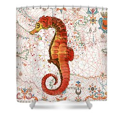 Shower Curtain featuring the painting Nautical Treasures-i by Jean Plout