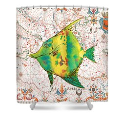 Shower Curtain featuring the painting Nautical Treasures-p by Jean Plout