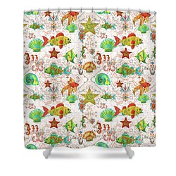 Shower Curtain featuring the painting Nautical Treasures-r by Jean Plout
