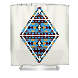 Navajo Blue Pattern Art Shower Curtain
