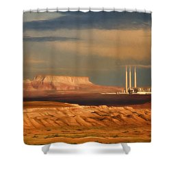 Shower Curtain featuring the photograph Navajo Generating Station by Lana Trussell