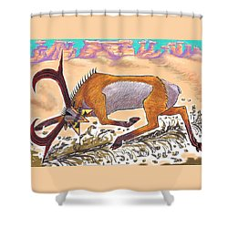 Shower Curtain featuring the drawing Navajo Horned Monster by Dawn Senior-Trask