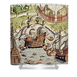 Naval Battle Between The Portuguese And French In The Seas Off The Potiguaran Territories Shower Curtain by Theodore de Bry