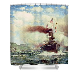 Naval Battle Explosion Shower Curtain by James Gale Tyler