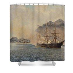 Naval Battle Of The Strait Of Shimonoseki Shower Curtain by Jean Baptiste Henri Durand Brager