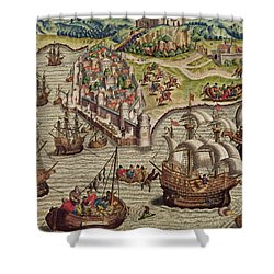 Naval Combat Shower Curtain by Theodore de Bry