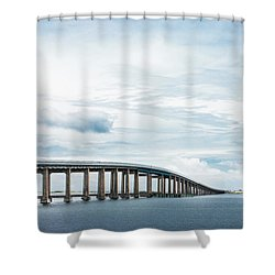Shower Curtain featuring the photograph Navarre Bridge In Florida On The Sound Side by Shelby Young