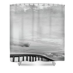 Shower Curtain featuring the photograph Navarre Bridge Monochrome by Shelby Young