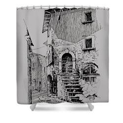 Navelli Dip Pen Sketch  Shower Curtain