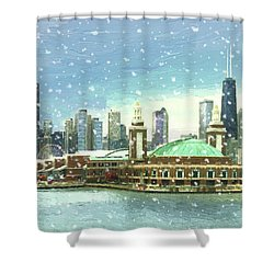 Shower Curtain featuring the painting Navy Pier Winter Snow by Doug Kreuger