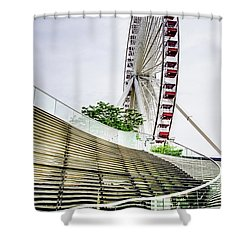 Shower Curtain featuring the photograph Navy Pier's Old Ferris Wheel by Julie Palencia
