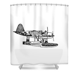 Navy Scout Observation Plane Pen And Ink No  Pi201 Shower Curtain by Kip DeVore