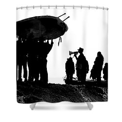 Navy Seals Hold An Inflatable Boat Shower Curtain by Michael Wood
