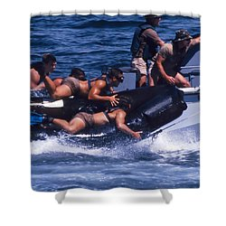 Navy Seals Practice High Speed Boat Shower Curtain by Michael Wood