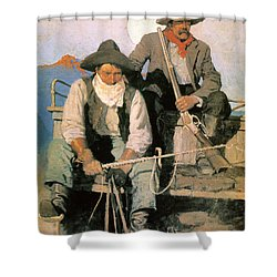 N.c. Wyeth: The Pay Stage Shower Curtain by Granger