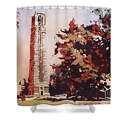 Shower Curtain featuring the painting Ncsu Bell-tower II by Ryan Fox