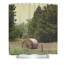 Nebraska Farm Life - Hay Bail Shower Curtain