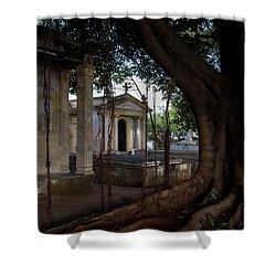 Shower Curtain featuring the photograph Necropolis Cristobal Colon Havana Cuba Cemetery by Charles Harden