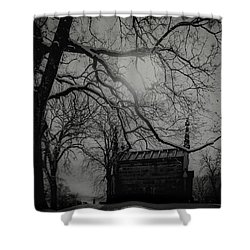 Shower Curtain featuring the digital art Necropolis Nine by Chris Lord