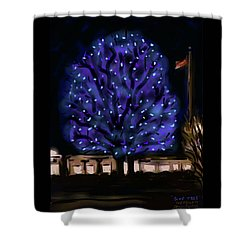 Needham's Blue Tree Shower Curtain by Jean Pacheco Ravinski