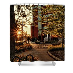 Shower Curtain featuring the photograph Neenah Center Sunset by Joel Witmeyer