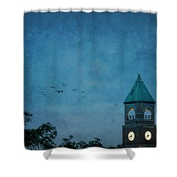 Shower Curtain featuring the photograph Neenah Clocktower by Joel Witmeyer