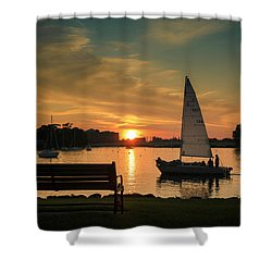 Shower Curtain featuring the photograph Neenah Harbor Sunset by Joel Witmeyer