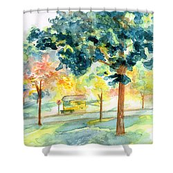Shower Curtain featuring the painting Neighborhood Bus Stop by Andrew Gillette