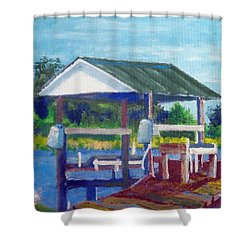 Neighbor's Boat Dock Shower Curtain by Jim Phillips