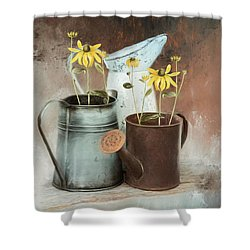 Shower Curtain featuring the mixed media Neighbors by Robin-Lee Vieira