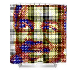 Shower Curtain featuring the digital art Neil Degrasse Tyson Art Mosaic by Shawn Dall