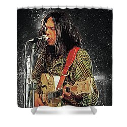 Neil Young Shower Curtain by Taylan Apukovska