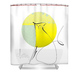 Shower Curtain featuring the mixed media Neko - Cat by Larry Talley
