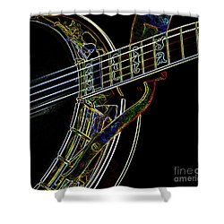 Shower Curtain featuring the photograph Neon Banjo  by Wilma Birdwell