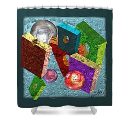 Neon Boxes Shower Curtain