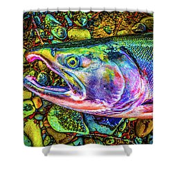 Neon Coho  Shower Curtain