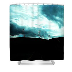 Neon Crucible Shower Curtain