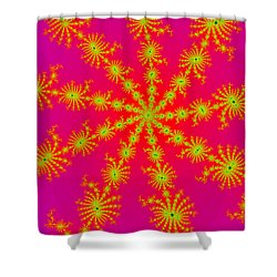 Neon Fractals Shower Curtain