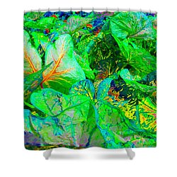 Shower Curtain featuring the photograph Neon Garden Fantasy 1 by Marianne Dow