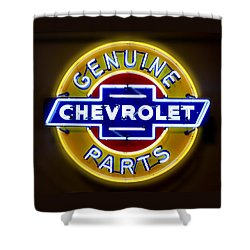 Neon Genuine Chevrolet Parts Sign Shower Curtain