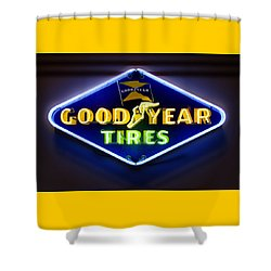 Neon Goodyear Tires Sign Shower Curtain