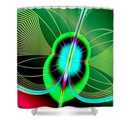 Neon Green And Blue Firefly Fractal 69 Shower Curtain