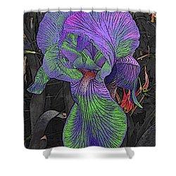 Neon Iris Dark Background Shower Curtain